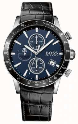 Boss Mens Rafale Black Leather Strap Blue Dial 1513391