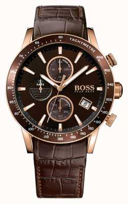 Hugo Boss Mens Rafale Brown Leather Strap Brown Dial 1513392
