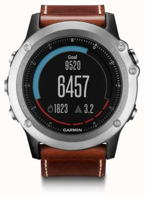 Garmin Fenix 3 Sapphire GPS Leather Strap HR Monitor Bundle 010-01338-61