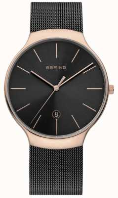 Bering Mens Milanese Black And Rose Gold Mesh Watch 13338-262