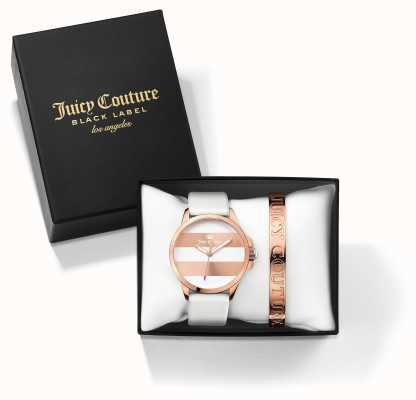 Juicy Couture Womans Fergi White Rose Gold Bangle Watch Gift Set 1950007