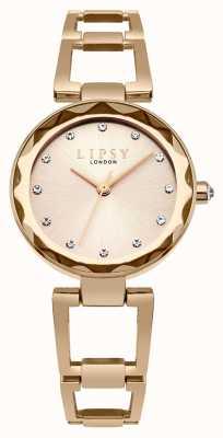 Lipsy Womans Rose Gold Tone Bangle Bracelet Champagne Dial LP513