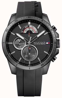 Tommy Hilfiger Mens Black Rubber Black Chronograph 1791352