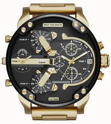 Diesel Mens Mr Daddy 2.0 Gold Toned Black Dial DZ7333