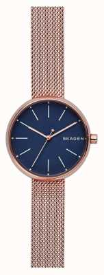 Skagen Womans Signatur Rose Gold Mesh Blue Dial SKW2593