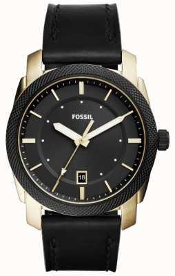 Fossil Mens Machine Gold Tone Black Leather FS5263