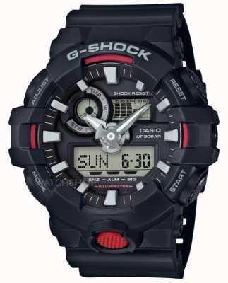 Casio Mens G-Shock Alarm Chronograph Black GA-700-1AER