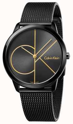 Calvin Klein Mens Minimal Black Stainless Steel Mesh K3M214X1