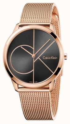 Calvin Klein Mens Minimal Rose Gold Mesh Black Dial K3M21621