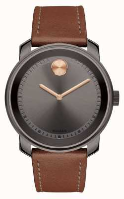 Movado bold Mens Brown Leather Strap grey dial 3600378