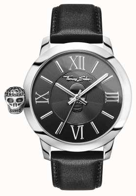 Thomas Sabo Men's Rebel With Karma Stainless Steel Black Leather WA0297-218-203-46