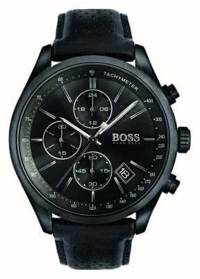 Hugo Boss Mens Grand Prix Chronograph Black Leather Strap Black Dial 1513474