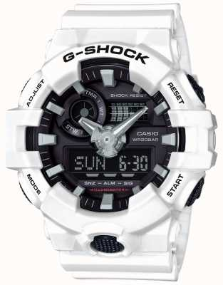 Casio Mens G-Shock Alarm Chronograph White GA-700-7AER