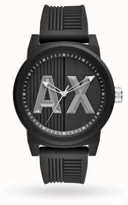 Armani Exchange Mens Matte Textured Grey Silicone Logo Print AX1451