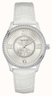 Guess Womans Broadway White Leather Strap W0768L4