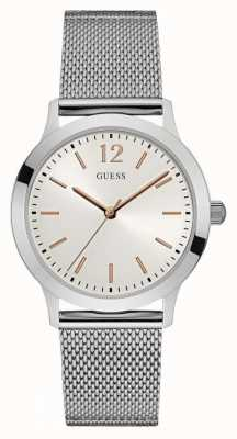 Guess Mens Exchange Stainless Steel Mesh White Dial W0921G1