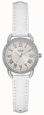 Guess Womens Fifth Avenue White Leather Strap Silver Dial W0959L1