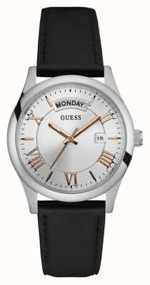 Guess Mens Merger Black Leather Strap Silver Dial W0924G1