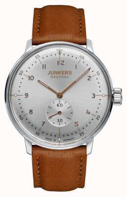 Junkers Mens Bauhaus Handwound Brown Leather Strap Silver Dial 6030-5
