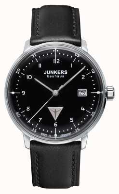 Junkers Mens Bauhaus Black Leather Strap Black Dial 6046-2