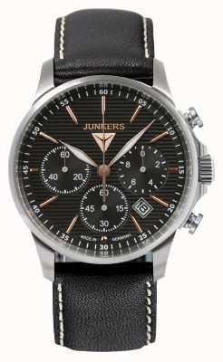 Junkers Mens Tante JU Chronograph Black Leather Strap Black Dial 6878-5