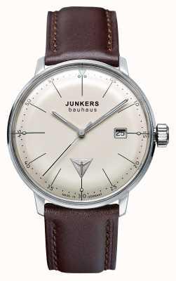 Junkers Mens Bauhaus Brown Leather Strap Beige Dial 6070-5