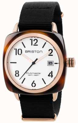 Briston Mens Clubmaster Classic Black Fabric Strap White Dial 17240.PRA.T.2.NB