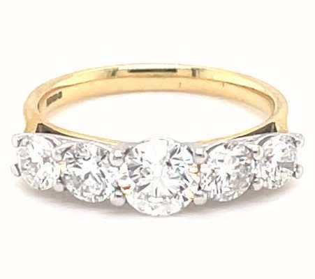 19k Yellow Gold Plat Head 1.75ct Diamond 5 Stone MX05-0129/175