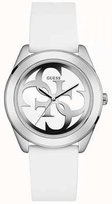 Guess Womens G Twist White Leather Strap White Dial W0911L1