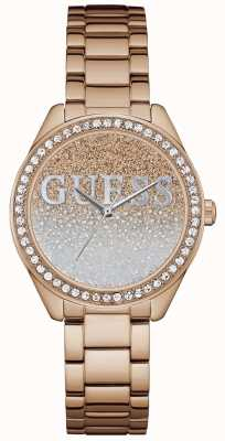 Guess Womens Glitter Girl Rose Gold Steel W0987L3