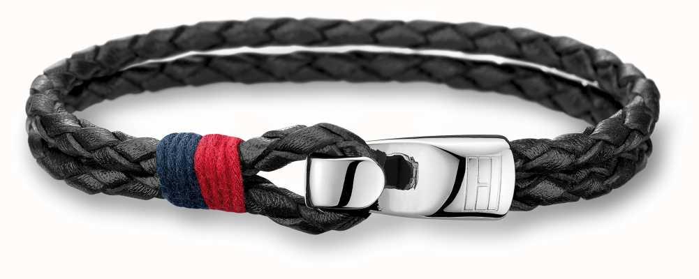 Tommy Hilfiger Mens Black Leather Stainless Steel Bracelet 2700670