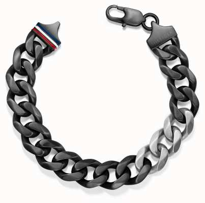 Tommy Hilfiger Mens Chain Link Black Ion Plated Bracelet 2700682