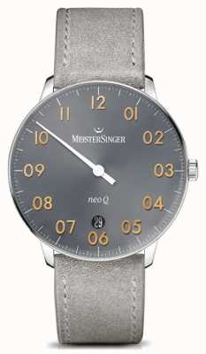 MeisterSinger Mens Form And Style Neo Q Quarz Sunburst Medium Grey NQ907GN