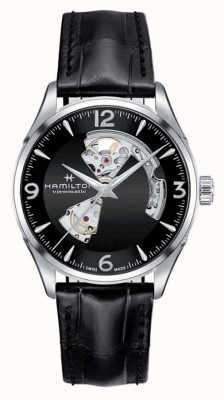 Hamilton Mens Jazzmaster Open Heart Automatic Leather H32705731