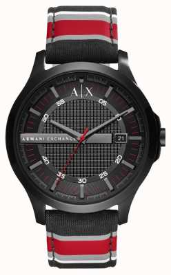 Armani Exchange Mens Dress Watch Black Red Stripe Strap AX2197