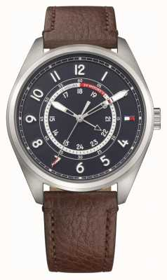 Tommy Hilfiger Mens Dylan Stainless Steel Brown Leather Strap 1791371