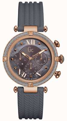 Gc Womans Cablechic Chronograph Grey Silicone Strap Y16006L5