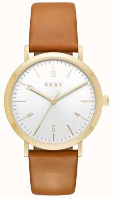 DKNY Womans Minetta Tan Leather Strap Gold Case Watch NY2613