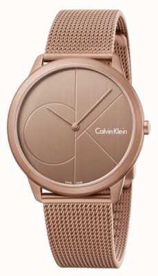 Calvin Klein Mens Minimal Gold Brown Stainless Steel Mesh Bracelet K3M11TFK