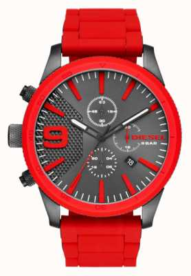 Diesel Mens Rasp Chronograph Gunmetal Red DZ4448