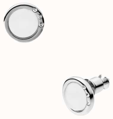 Skagen Womans Stainless Steel White Stone Set Stud Earrings SKJ0103040