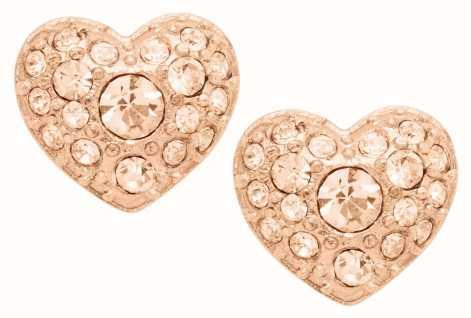 Fossil Vintage Motifs Rose Gold Tone Heart Stud Earrings JF01151791