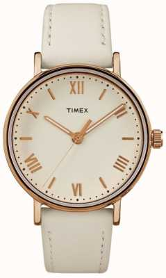 Timex Womans Southview 37mm Cream Dial Rose Gold Tone Case TW2R28300