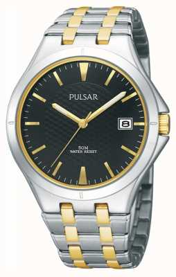 Pulsar Mens Two Tone Metal Braclet Black Patterned Dial PXH909X1