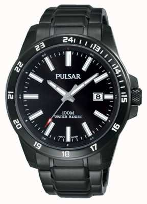 Pulsar Mens Black Iron Plated Bracelet Black Dial PS9461X1