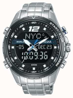 Pulsar Mens Analogue Digital Black Dial Silver Metal Bracelet PZ4027X1