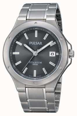 Pulsar Mens Titanium Bracelet Grey Dial PS9125X1