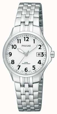 Pulsar Womans Stainless Steel Bracelet Simple White Dial PH7221X1