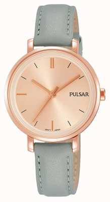 Pulsar Womans Grey Blue Leather Strap Blush Pink Dial PH8366X1