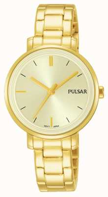 Pulsar Womans Gold Plated Stainless Steel Bracelet Champagne Dial PH8360X1